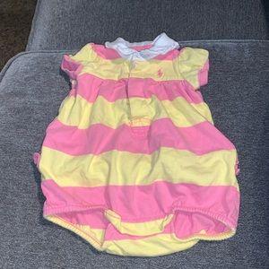 Ralph Lauren pink yellow baby girl romper 3m